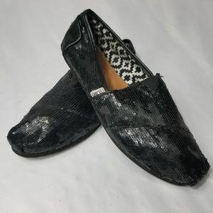 Black Sequin Toms Size 8.5 Wide